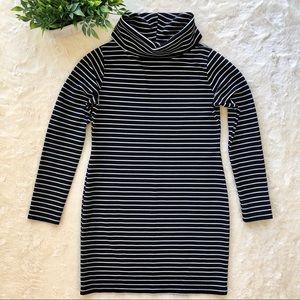 Misguided black white stripe turtleneck dress 12
